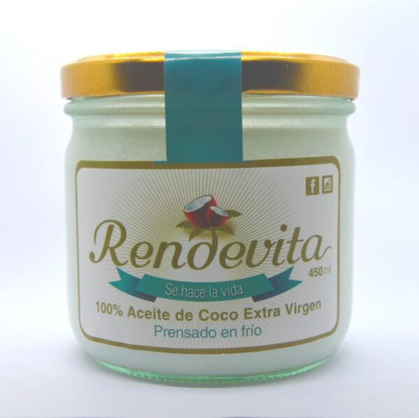 Aceite de Coco Virgen Prensado en frio Rendevita 450 ml frio