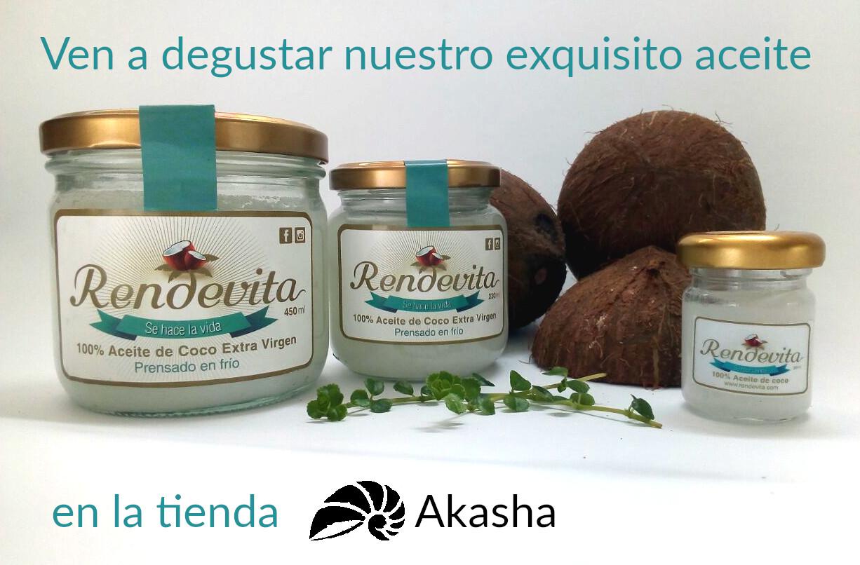 Invitación a degustación de aceite Rendevita en tienda Akasha 8 sept