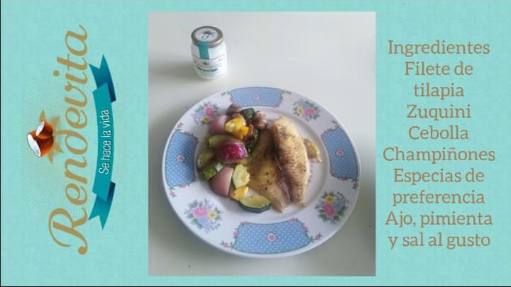 Receta pescado horneado en verduras con aceite de coco Rendevita